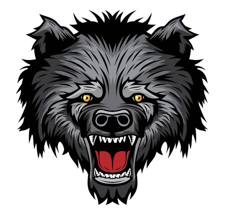 Roaring bear head mascot.