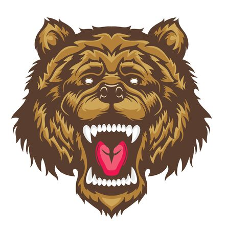 Roaring bear head mascot. 스톡 콘텐츠 - 133493806