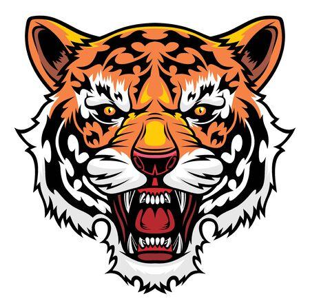Angry tiger head illustration 矢量图像