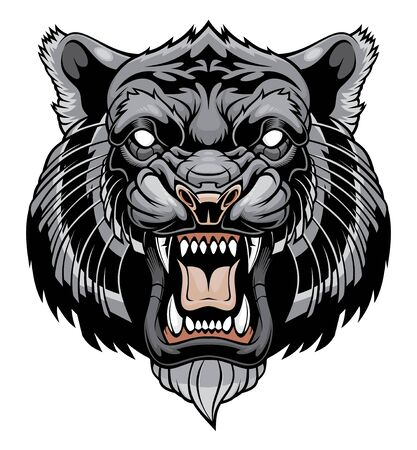 Angry tiger head illustration Illustration