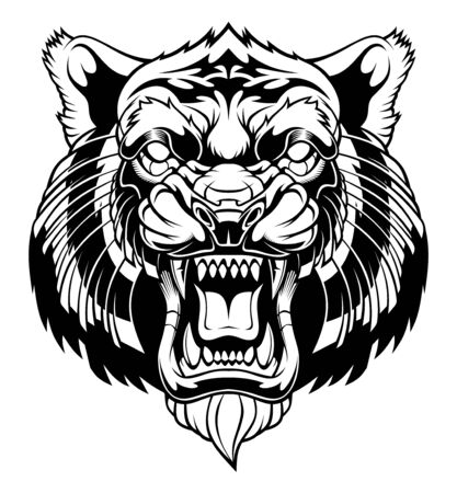 Angry tiger head illustration