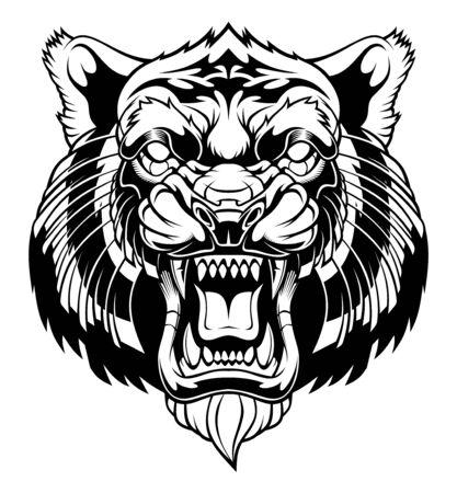 Illustration de tête de tigre en colère