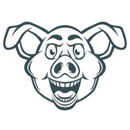 Cara de cerdo loco divertido. Ilustración de vector