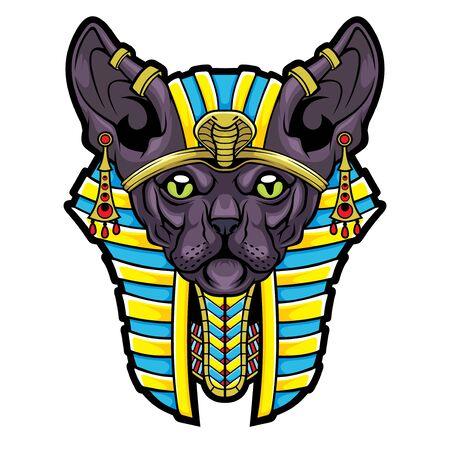 Göttin Bastet. Stilisierte Sphynx-Katze aus dem alten Ägypten. Vektorgrafik