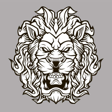 Lion Head Mascot. Grin of a predator. Vector illustration for use as print, poster, sticker, tattoo, emblem and other. Vettoriali