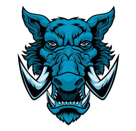 Wild boar head mascot Vector illustration