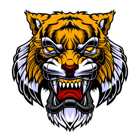 Angry tiger head Vector illustration 向量圖像