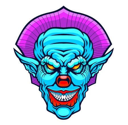 Evil cartoon clown illustration. Vector illustration for use as print, poster, sticker, logo, tattoo, emblem and other. ЛОГОТИПЫ