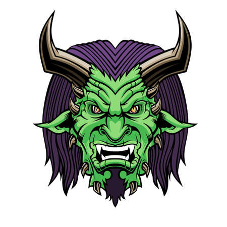 Devil head. Vector illustration for use as print, poster, sticker, tattoo, emblem and other.