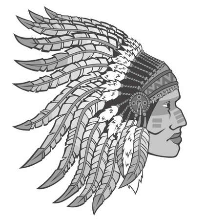 American Indian in national headdress. Vector illustration for use as print, poster, sticker, logo, tattoo, emblem and other.