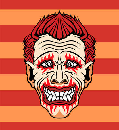 Evil cartoon clown illustration. Vector illustration for use as print, poster, sticker, logo, tattoo, emblem and other.