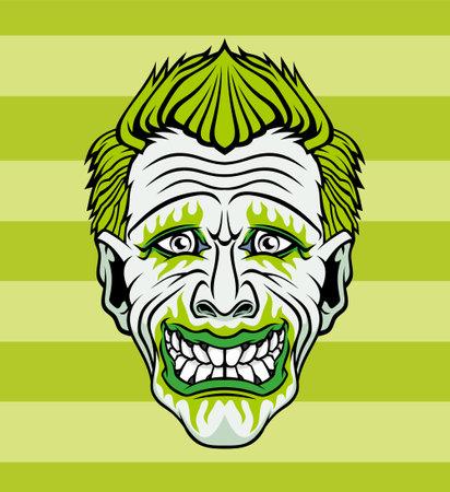 Evil cartoon clown illustration. Vector illustration for use as print, poster, sticker, logo, tattoo, emblem and other. Illustration