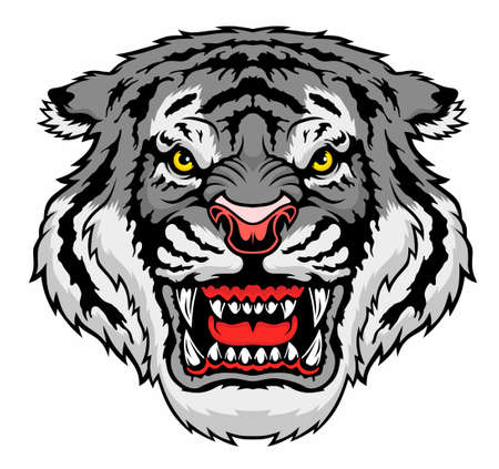 Angry tiger head. Vector illustration for use as print, poster, sticker, logo, tattoo, emblem and other. Illustration