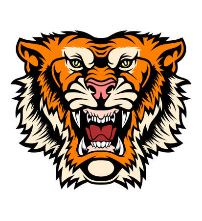 Angry tiger head. Vector illustration for use as print, poster, sticker, logo, tattoo, emblem and other.