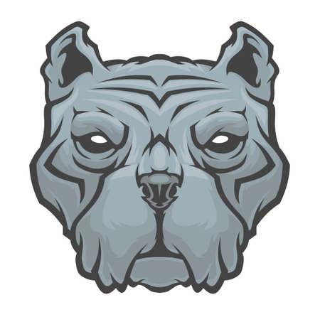 American Pitbull Terrier dog head. Vector illustration