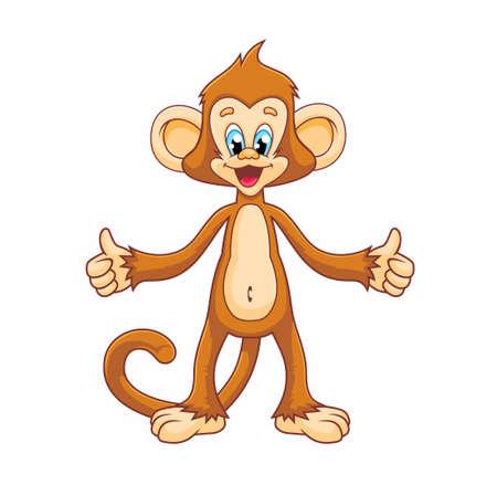 Cute funny monkey in a cartoon style.