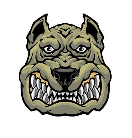 Angry pitbull head.
