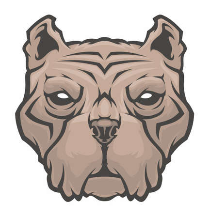 American Pitbull Terrier dog head. Illustration