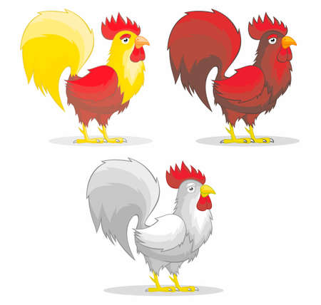 Cartoon rooster. Vector illustration for use as print, poster, sticker, logo, tattoo, emblem and other. Illustration