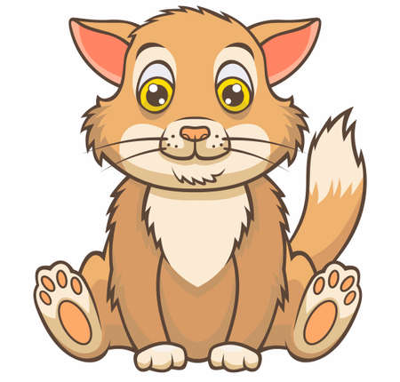 Cute cat cartoon. Vector illustration for use as print, poster, sticker, logo, tattoo, emblem and other. Illustration