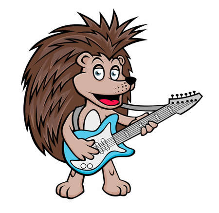 Hedgehog with a guitar. Vector illustration for use as print, poster, sticker, logo, tattoo, emblem and other.