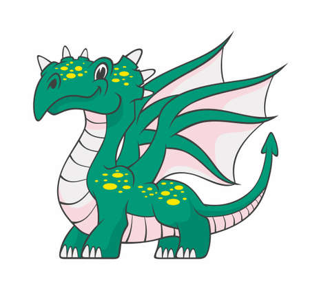 Cartoon dragon isolated on white background. Vector illustration for use as print, poster, sticker, logo, tattoo, emblem and other. Illustration