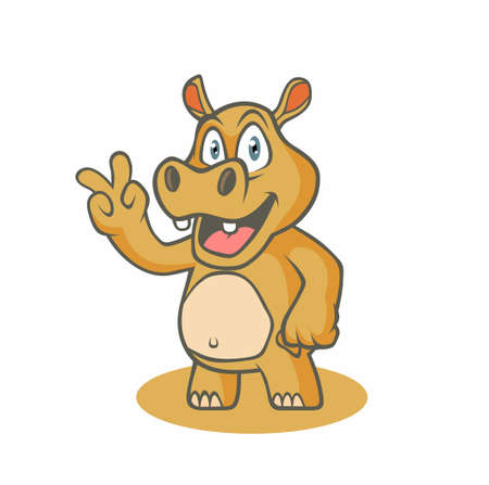 Cartoon funny hippo. Vector illustration for use as print, poster, sticker, logo, tattoo, emblem and other. Illustration