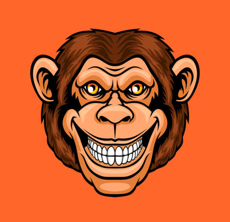 Funny monkey. Vector illustration for use as print, poster, sticker, logo, tattoo, emblem and other. Illustration