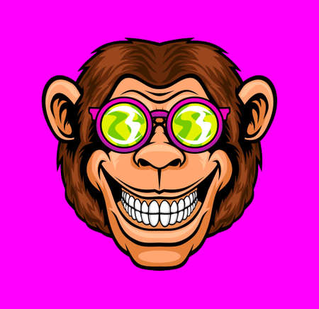 Funny monkey in sunglasses. Vector illustration for use as print, poster, sticker, logo, tattoo, emblem and other.