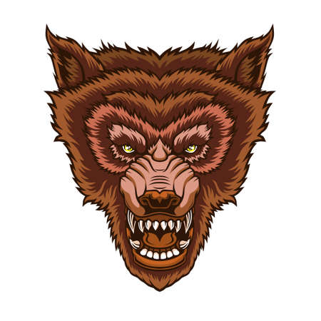 Head of roaring wolf. Vector illustration for use as print, poster, sticker, logo, tattoo, emblem and other. Illustration
