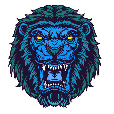 Lion Head Mascot. Grin of a predator. Vector illustration for use as print, poster, sticker, tattoo, emblem and other. Illustration