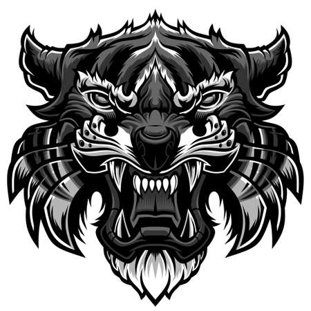 Angry tiger head. Vector illustration for use as print, poster, sticker,  tattoo, emblem and other.