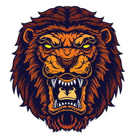 Lion Head Mascot. Grin of a predator. Vector illustration for use as print, poster, sticker,  tattoo, emblem and other.