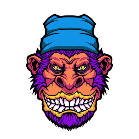 Funny monkey. Vector illustration for use as print, poster, sticker,  tattoo, emblem and other.