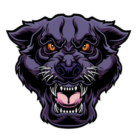 Angry panther head. Vector illustration for use as print, poster, sticker,  tattoo, emblem and other.