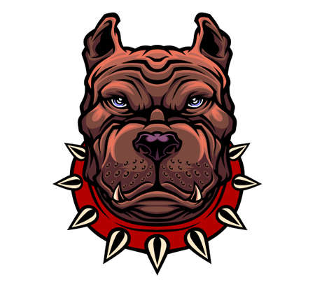American Pitbull Terrier dog head. Vector illustration for use as print, poster, sticker, logo, tattoo, emblem and other.