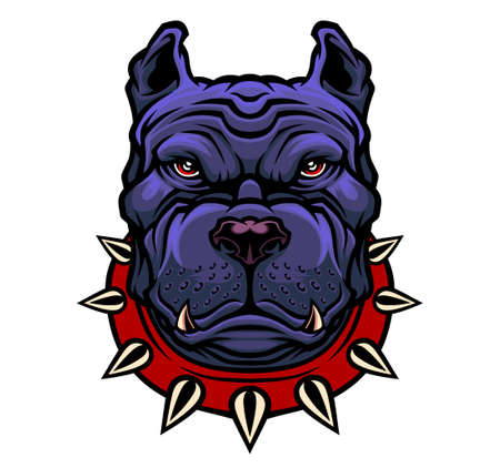 American Pitbull Terrier dog head. Vector illustration for use as print, poster, sticker,  tattoo, emblem and other.