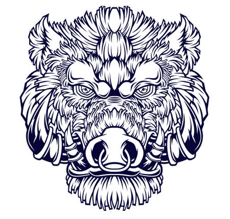 Wild boar head mascot. Vector illustration for use as print, poster, sticker, logo, tattoo, emblem and other.