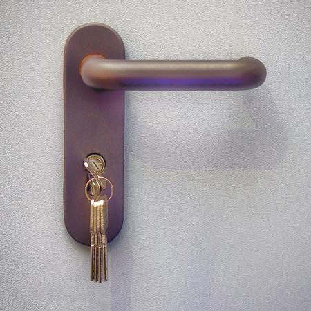 the lock on the metal door closeup