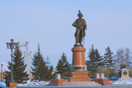 sculpture of military officer in winter Park Stock Photo