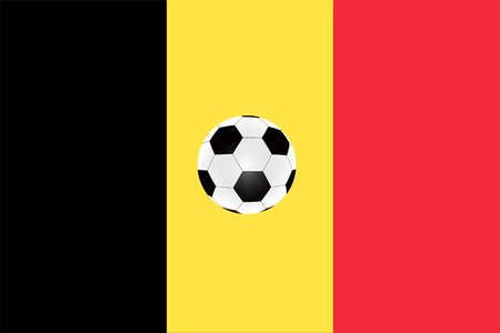 soccer ball on the background of the flag of Belgium.