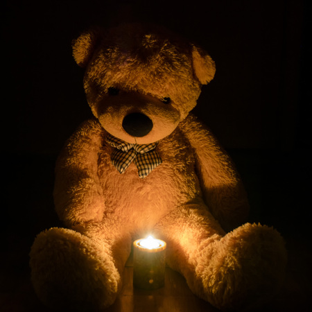 toy, bear, sitting in the dark, candle, sadness.