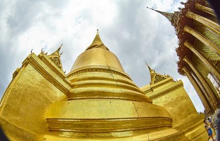 Pan Up of Temple Stupa - Wat Pho Bangkok Thailand Stock Photo