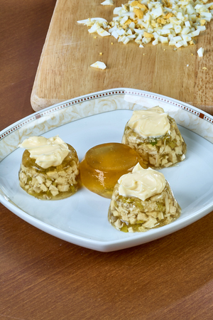 Cook chews the dish with mayonnaise egg cucumber full collection of food recipes jelly with chicken step by step instruction