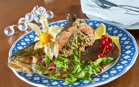 plating: Fried stuffed fish on a platter festive menu Complete collection of recipes