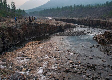 Travel to the Putorana plateau in the Krasnoyarsk territory in Siberia in Russia in the summer