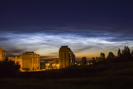 atmospheric phenomena: Noctilucent clouds in the night sky