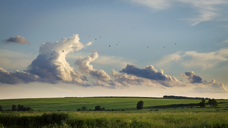 the arable land: Clouds hovering over fields
