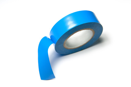 Roll of blue insulating adhesive electrical tape for electrical work