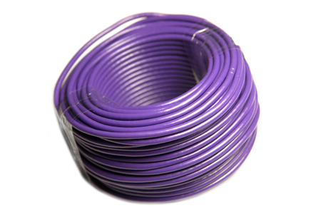 Purple power electrical cable wire bundle. Color electric copper power cable.